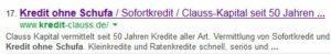 """Google Suchabfrage """"Kredit ohne Schufa"""""""