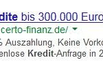 Google Anzeige Certo Finanz
