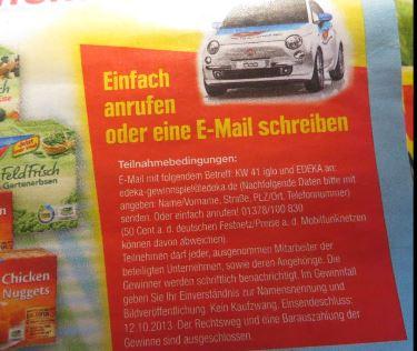 Mit Iglo und Edeka kann man ein Fiat 500 Auto gewinnen