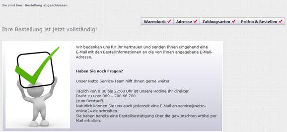 Bestätigung über den Abschluss der Bestellung im Netto online Shop.