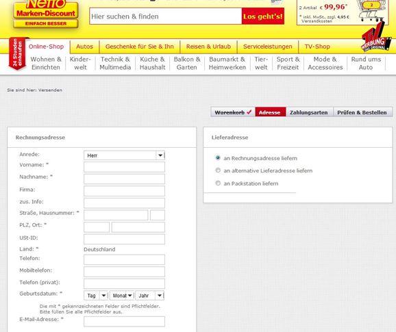 Formular zu Eingabe der Bestelldaten.