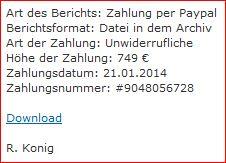 Ausschnitt der E-mail mit der Unterschrift R.Konig