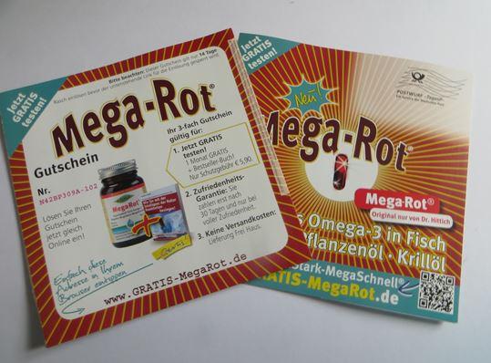 Werbeprospekt für die Mega-Rot Krillöl Kapseln . Vorder- und Rückseite