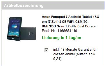 Screenshot Auszug der Bestätigung am Ende der Bestellung meines Asus Fonepads 7  bei Conrad Elektonics