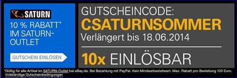 Saturn Gutschein Code : Gültig bis 18.06.2014  Quelle ; Ebay.de