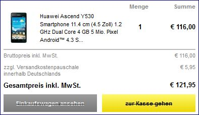 Conrad Electronics Einkaufswagen mit dem Huawei Ascend Y530