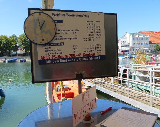 Die Preisliste des Bootsverleih für Führerscheinfreie Boote in Warnemünde
