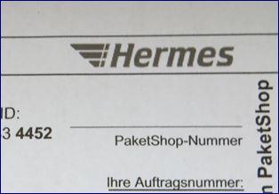 Ausschnitt aus dem Hermes Paketschein