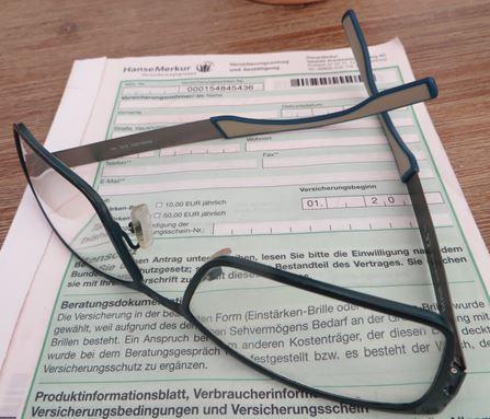 Versicherungsantrag Fielmann HanseMerkur Brillenversicherung