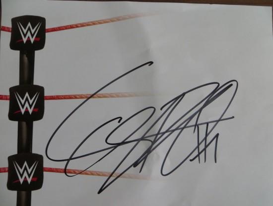 Cesaro Autogramm auf WWE Zettel