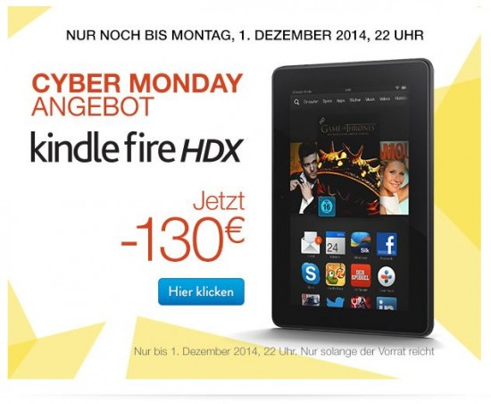 Kindle Fire HDX - Newsletter zur Cyber Woche bei Amazon