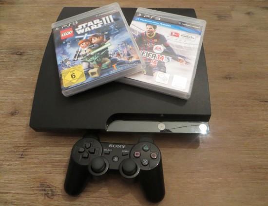 PS3 mit Fifa 14 und Star Wars 3