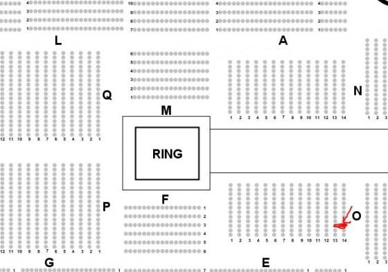 Innenraum Block 0 Frankfurter Festhalle. Aussschnitt Hallenplan Eventim Ticketservice