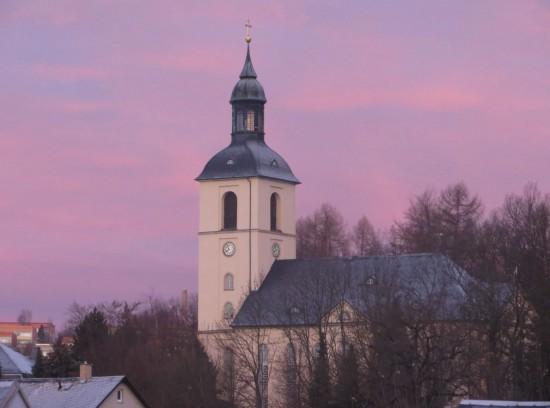 Lila Wolken in Thalheim Erzgebirge