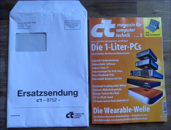 Ersatzsendung im c´t Magazin im Umschlag
