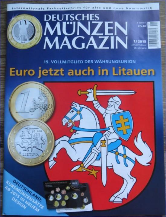 """Das Cover der Zeitschrift """"Deutsches Münzenmagazin"""" Ausgabe 1 / 2015"""