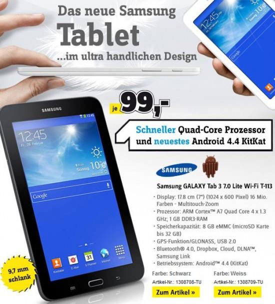 Screenshot des Newsletters mit der Bewerbung des neuen 7 Zoll Samsung Tablets