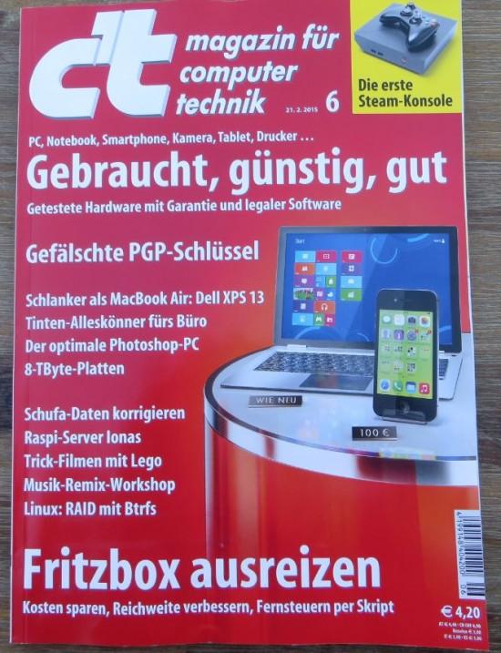 Cover des aktuellen c´t Magazin 6/2015 mit Inhaltsübersicht