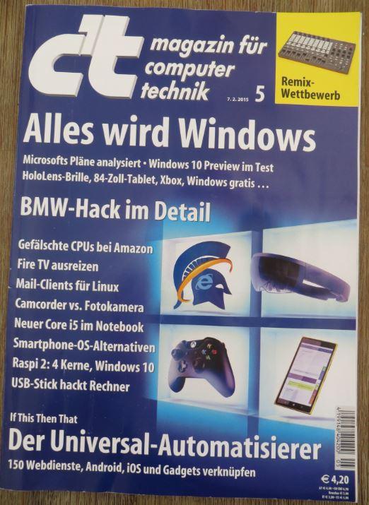 Das Cover mit dem Inhaltsverzeichnis der c´t Ausgabe 5 / 2015 vom 07.02.2015