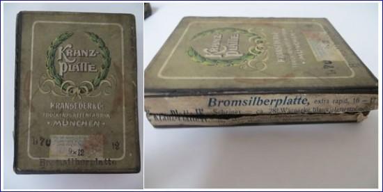 Schachtel mit Trockenplatten der Trockenplatten Fabrik Kranseder & Cie München