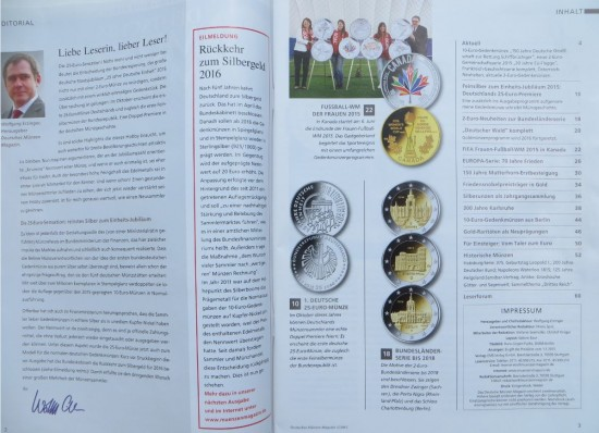 """Inhaltsverzeichnis des Magazins """"Deutsches Münzen Magazin"""" Ausgabe 3 / 2015"""