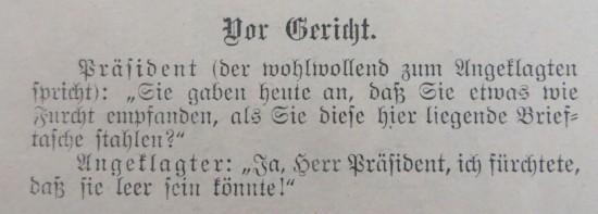 Der Gericht Witz aus der Modezeitschrift von 1905