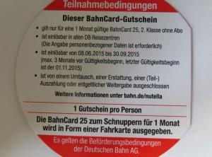 Nutella Bahncard Gutschein -- Bedingungen