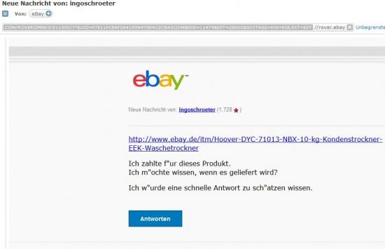 Phishing Mail mit Ebay Layout und  1blu Link