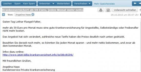 Screenshot der Mail von der Angelina vom Kundenservice Private Krankenversicherung