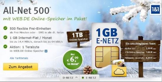 Screenshot des Web.de Allnet 500 Angebotes