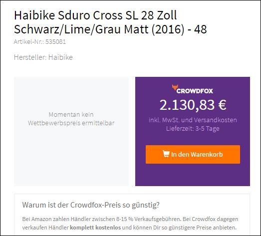 Angebots Preis für das Haibike SDURO Cross RC Herren bei Crwodfox