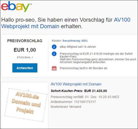 Ebay Preisvorschlag für AV100.de  1 Euro wer bietet mehr :-)