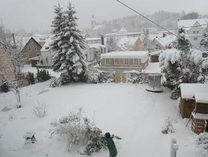 Schnee in Thalheim Erzgebirge im Februar 2019
